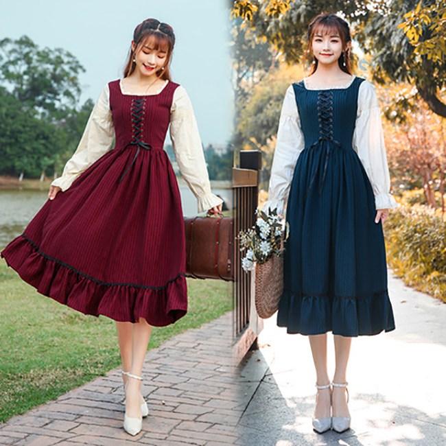 알프스소녀 하이디 코르셋원피스 복고풍 빈티지 귀여운 코스프레 졸업사진컨셉 드레스