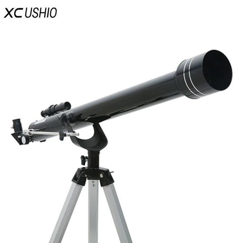 입문용 천체 망원경 삼각대 F90060 야외 공간 공간 단안 줌 천문학 애호가를위한 품질의 천문 달 관측, 검정 또는 은색, 러시아