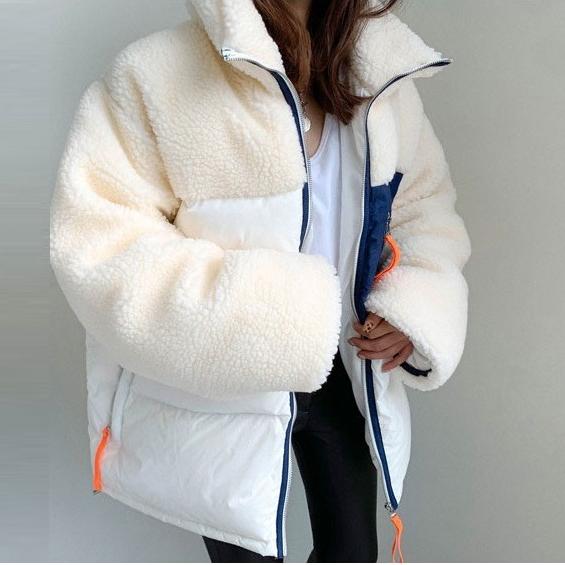 나라라오리 여성 겨울 양털후리스 배색 숏패딩 패딩 점퍼