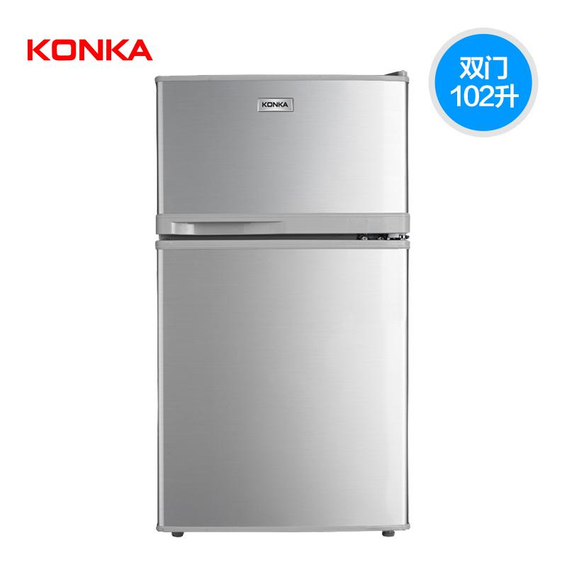 소형냉장고 Konka/가정용 더블도어 냉장고 소형 BCD-102S, T01-실버스틸와이어