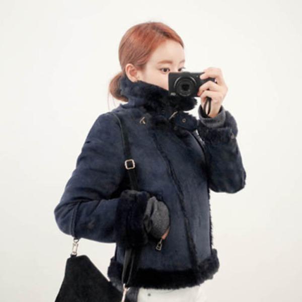 가바바 여자 겨울 숏무스탕 두툼한 안감 따뜻하게 입기 딱 좋은 세련된 스타일 터틀넥 데일리 양털무스탕 G41199