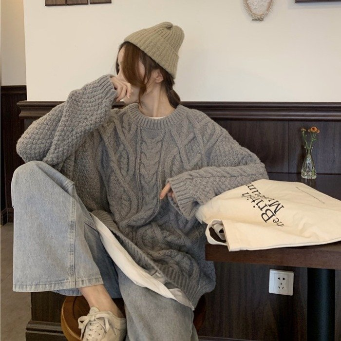 E17404 여성 루즈핏 꽈배기 니트 스웨터