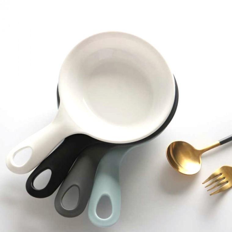 1+1 먹방용 손잡이 접시 먹방 앞접시 그릇2p, 화이트+블랙