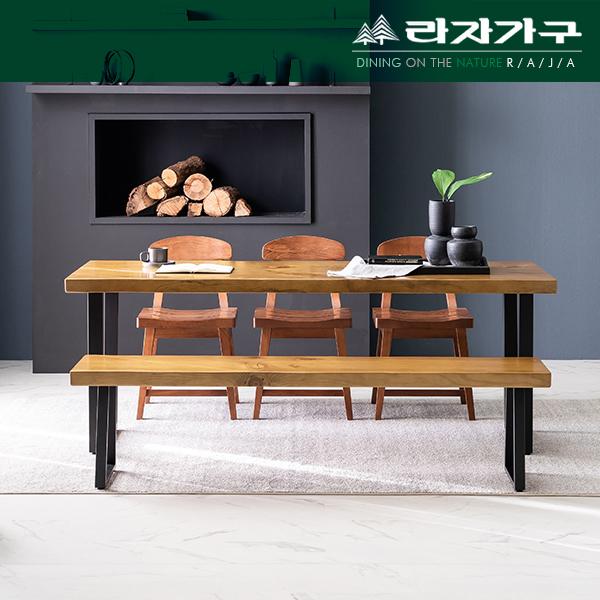 뉴송 우드슬랩 메이플 통원목 슬림 식탁 테이블 1800