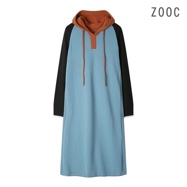 [ZOOC] 후드배색 니트원피스 Z194KSE010_BL