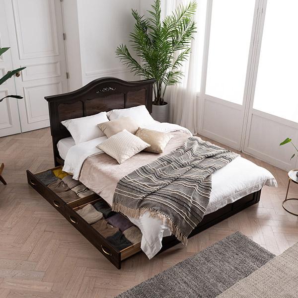 [삼익가구]리몬 아이보리 서랍형 도장 침대(65T 유로탑 독립 매트리스-킹), 월넛