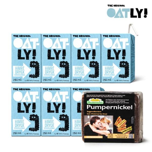 [오틀리] [피트니스 7일세트] 스웨덴 귀리우유 250ml 7팩 + 메스테마허 호밀빵 1종, 오틀리:오리지널 7팩 / 메스테마허:펌퍼니컬
