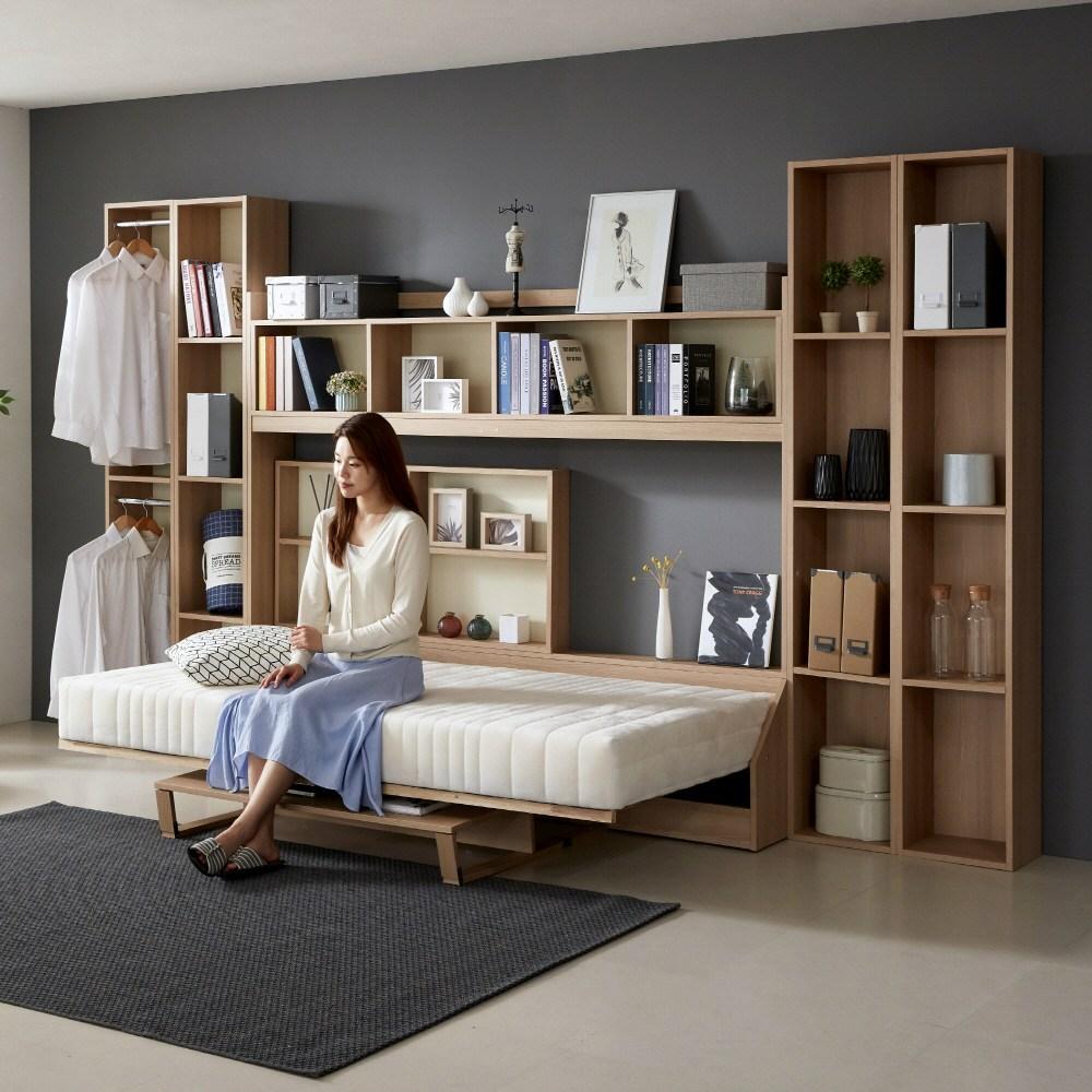 오키미키 폴딩 월베드 접이색 침대 슈퍼싱글+전용 매트리스 포함, 단일 색상