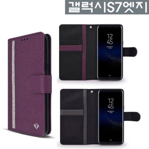 갤럭시S7엣지 럭셔리 큐빅 펠리스 다이어리 케이스 SM, 블랙, 없음