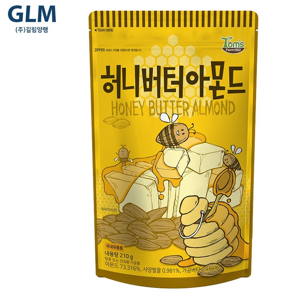 길림양행 탐스팜 허니버터 아몬드 210gx1개, 5개, 210g