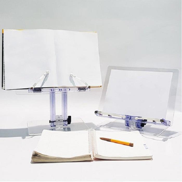 목디스크 거북목 일자목 예방 플라스틱 투명 좌식 독서대 높이 각도조절 가능 북스탠드, 학생용HD-402 책상용