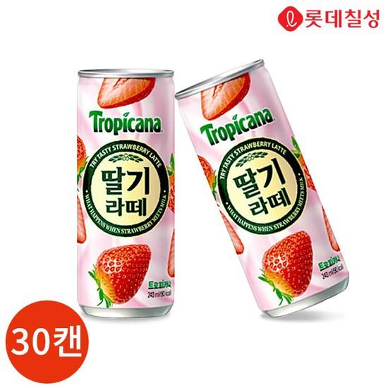롯데 트로피카나 딸기라떼 240ml x 30캔, 없음, 상세설명 참조