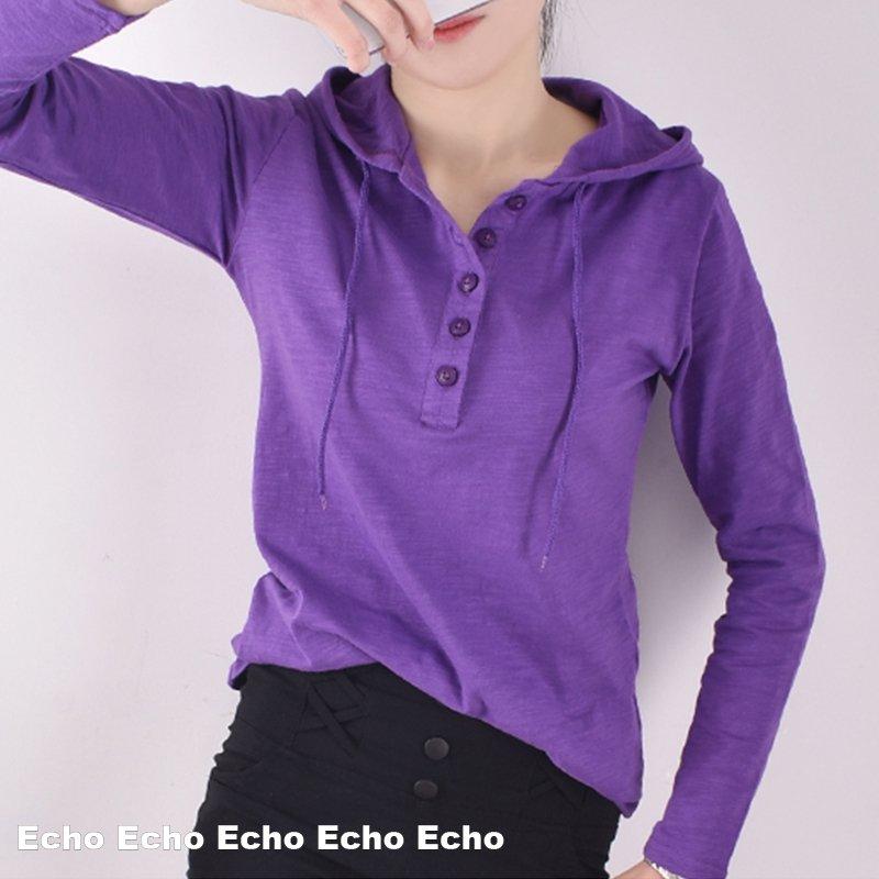 에코 여성 후드 티셔츠 EN219