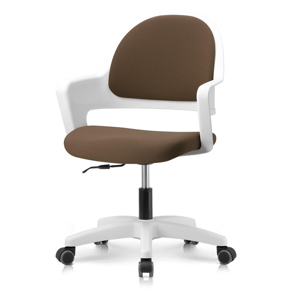 프리메이드 프로그 의자, 화이트바디_초콜렛 패브릭