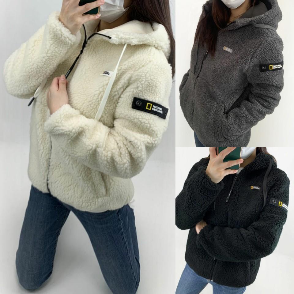 내셔널지오그래픽 패치자수F7 보아털 후드자켓(남녀공용) 후드집업