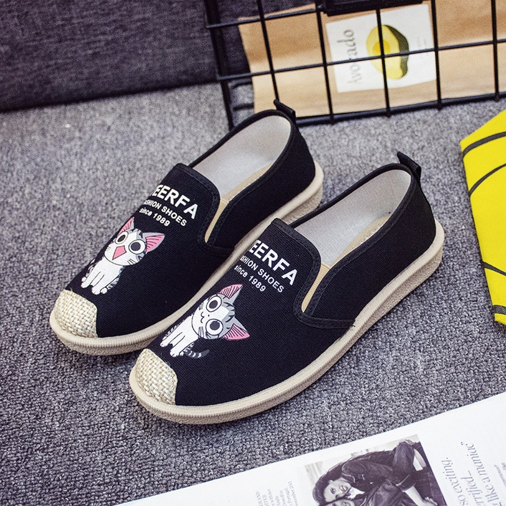 JUN 플렛 슈즈 여성 에스파듀 캐릭터 슬립온 여름 신발JBR003E