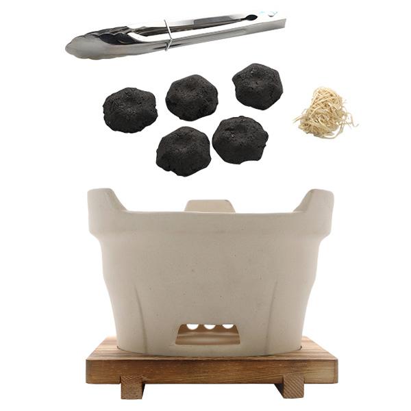 점토 1인 바베큐 가정용 숯불구이 미니 화로 세트I, 단품