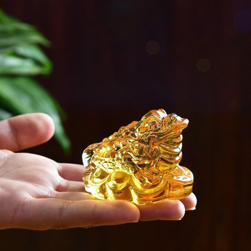 칠나무 크리스탈 장식품 두꺼비 풍수 대박 돈더미 삼족두꺼비 복두꺼비 WDD0813-01, 사진색