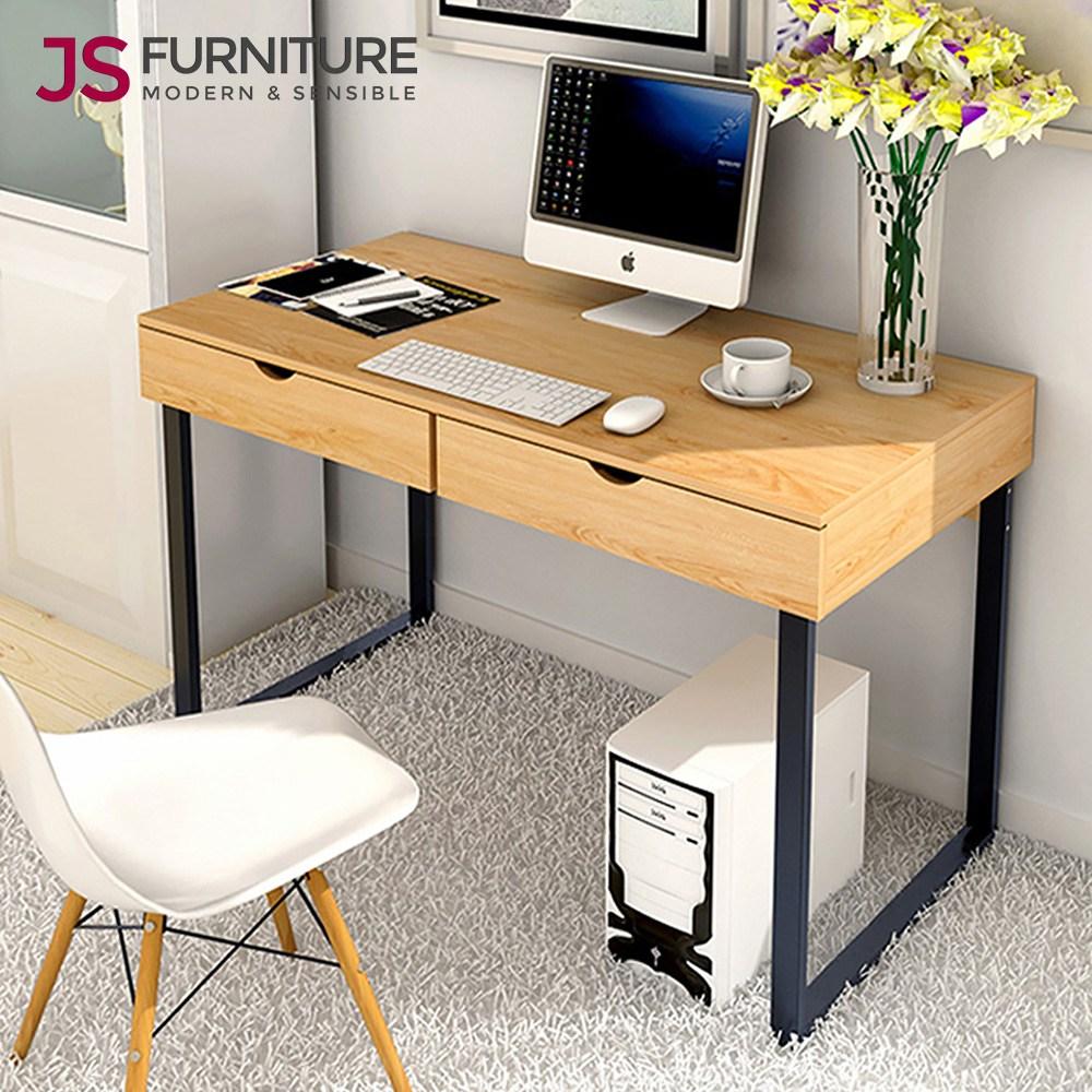 JS리빙 노르딕 서랍 테이블 2칸 서랍장 화장대 활용 학원 독서실 철제 우드 책상 스터디 카페 회의실