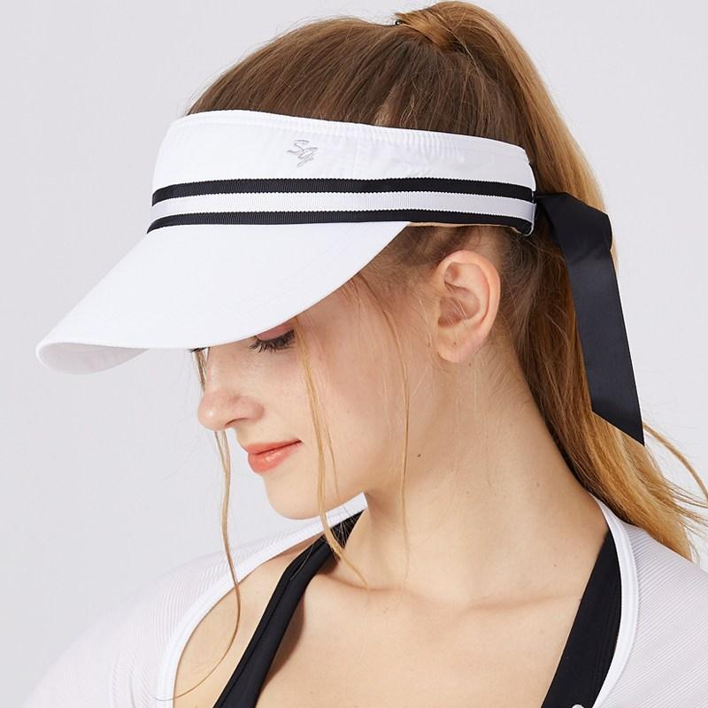 골프모자 골프 여성모자 타입리본 오색테이프 썬캡 야외 자외선차단 차양 캐주얼 유행패션, 기본