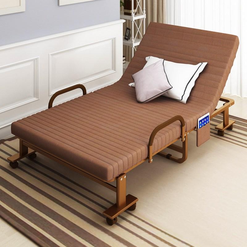 HAITAO 접이식 침대 1인용 1.2m 홈 간이침대 사무실 2인 점심 휴식 낮잠행군 보조 휴대용 의자, 사진색