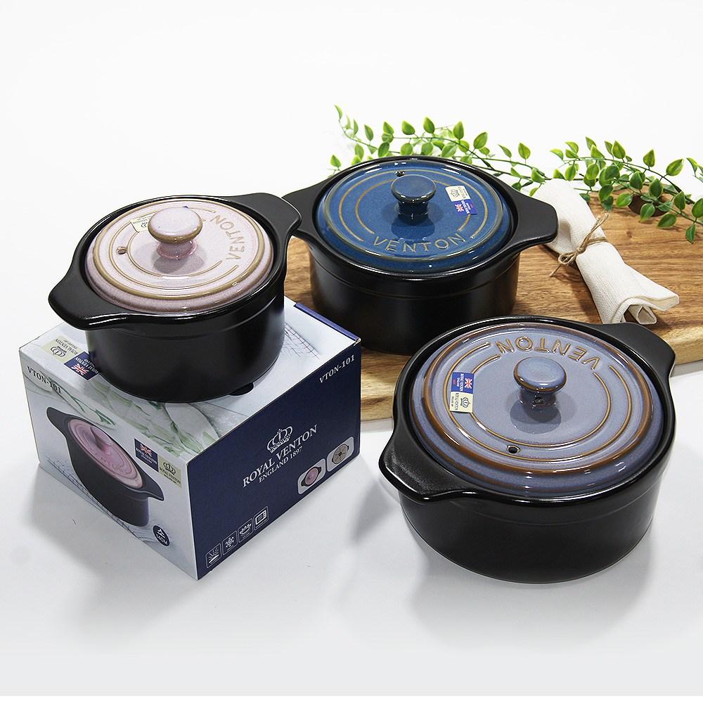 로얄벤톤 무균열 벤톤 내열냄비 내열찜기 뚝배기 3종, 소(핑크)