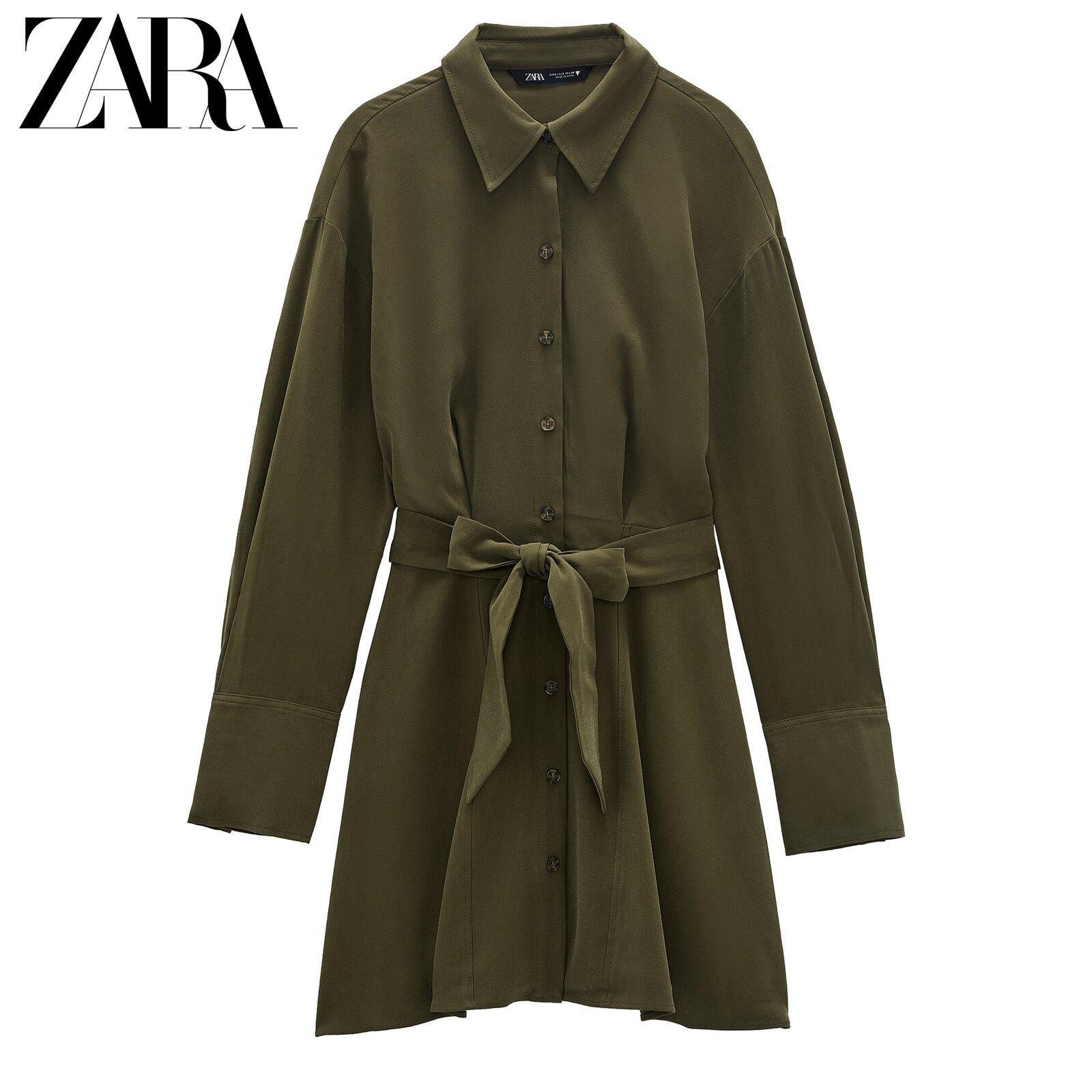 해외 ZARA 새로운 TRF 여성용 셔츠 드레스 벨트-16211
