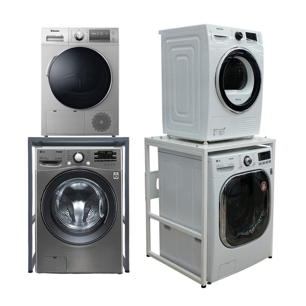 듀오스탠드 LG 삼성 위닉스 대우 캐리어 위니아 베코 미디어 의류 건조기 세탁기 선반 앵글 (화이트 실버 선택) 앵글구멍없는 상판까지 메탈, DST-101S(실버)