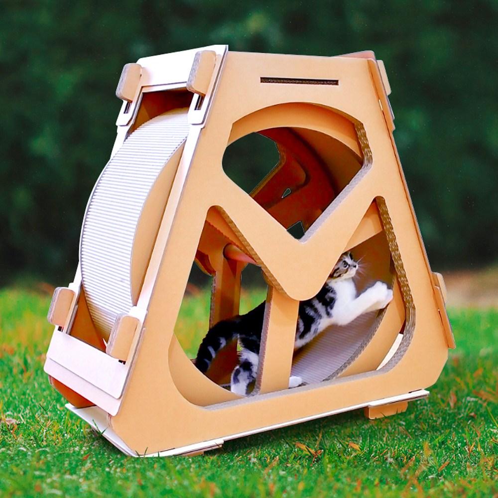 마켓굳음 고양이 캣휠 무소음 캣워커 관람차 챗바퀴 수직공간 종이 스크래쳐 숨숨집 하우스, 1개, 소형