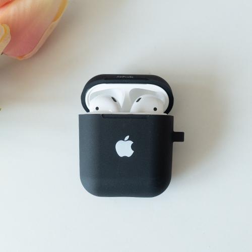 정녕마켓 [무료배송] 사과 프린트 에어팟 케이스 TPU 하드젤리, 블랙, 사과에어팟케이스