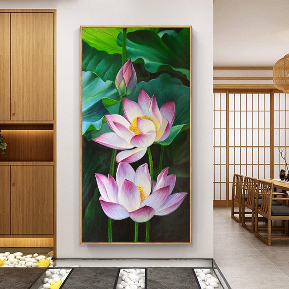 싱그러운 연꽃 풍경 큐빅 비즈 보석십자수 집에서 할 수 있는 취미, 55x90
