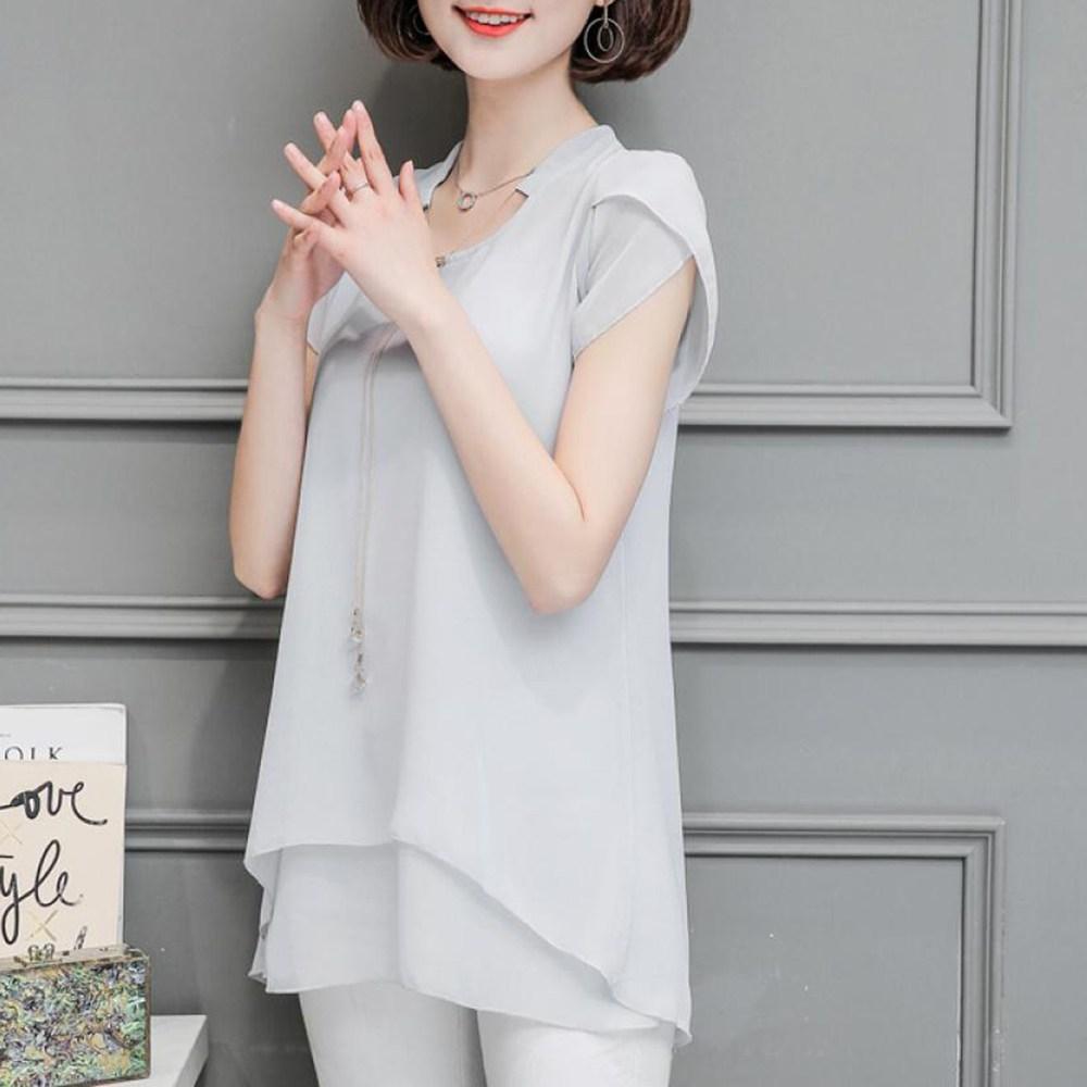 kirahosi 여성 반팔 상의 티셔츠 블라우스 40대 50대 빅사이즈 748호 Mt7ofh+덧신 증정