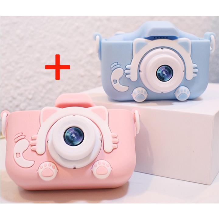 [원플원] 선물 고양이발 디지털 미니카메라 넥스 X5S 2000만화소, 메모리 카드 없음, 핑크+블루