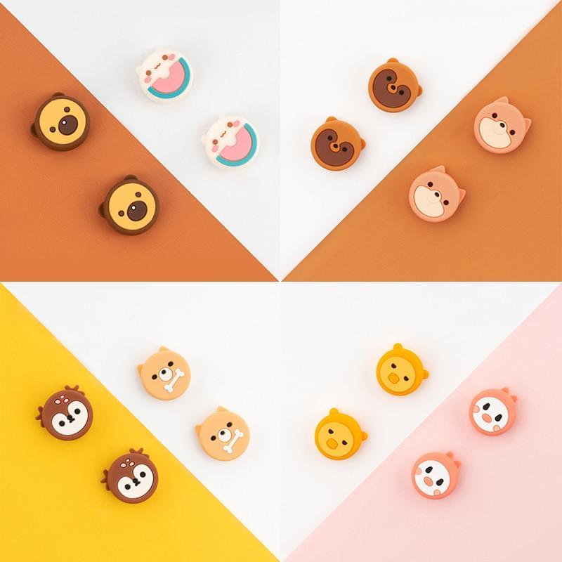 닌텐도 스위치 조이스틱 커버 쉘 조이 콘 핸들 케이스 로커 캡에 대한 귀여운 곰 고양이 엄지 그립 닌텐도 스위치 액세서리 케이스, 닌텐도 귀여운 오리 토끼