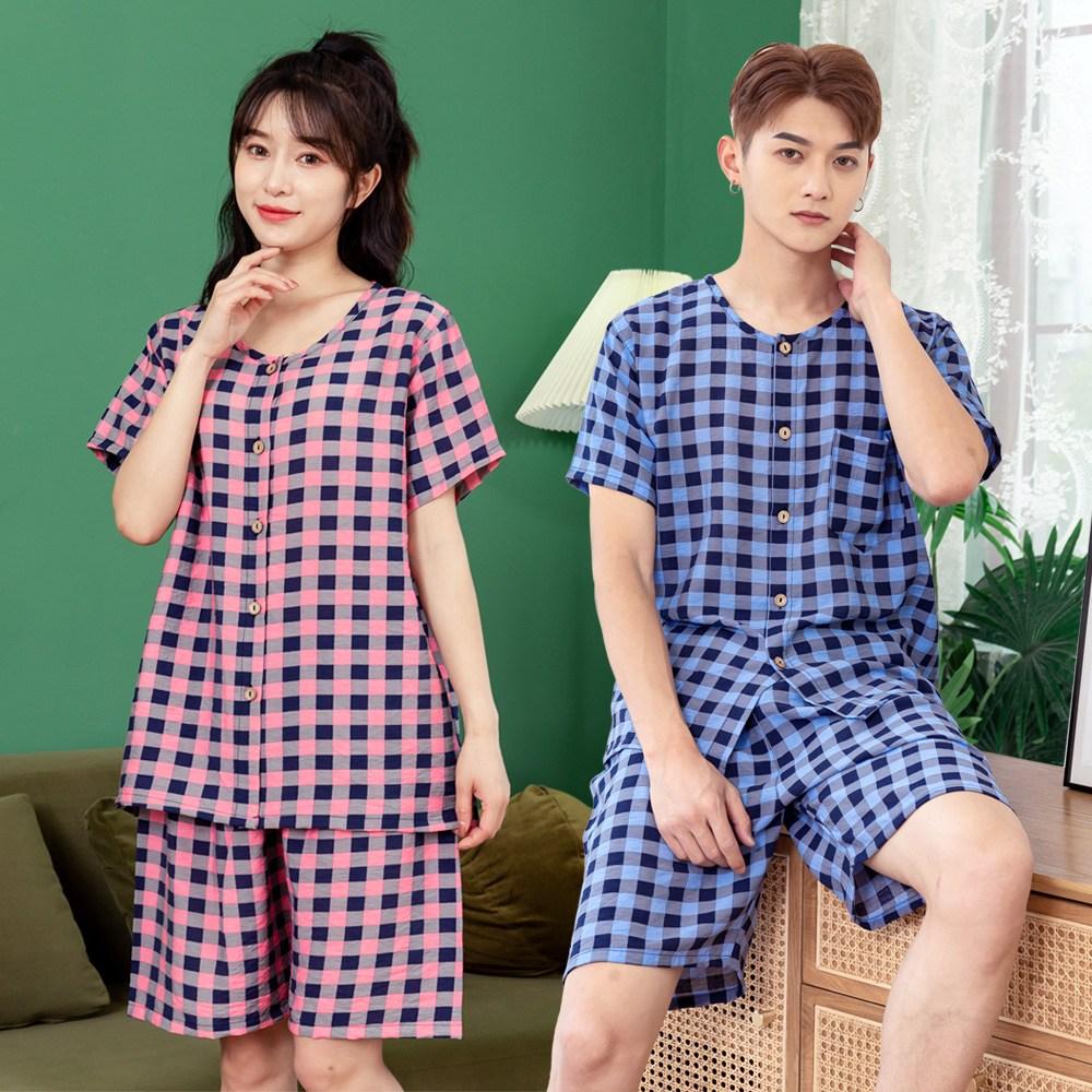 체크 인견 커플 반팔잠옷 상하세트 2종 블루+연핑크
