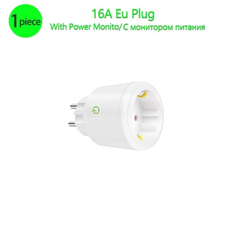스마트 플러그 16A Wifi 스마트 소켓 Tuya Smart Life App EU Wifi 플러그 Alexa Google 홈과 함께 작동, EU 플러그, 1 조각 (POP 5558356767)
