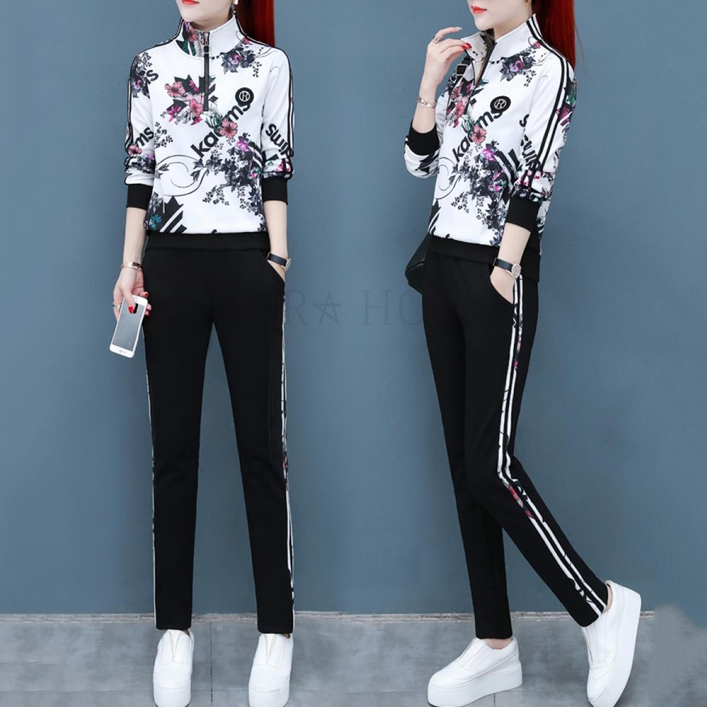 kirahosi 환절 여성 트레이닝복 투피스 긴팔 패션 운동복 세트 72호+ 덧신 증정 Cuc258y