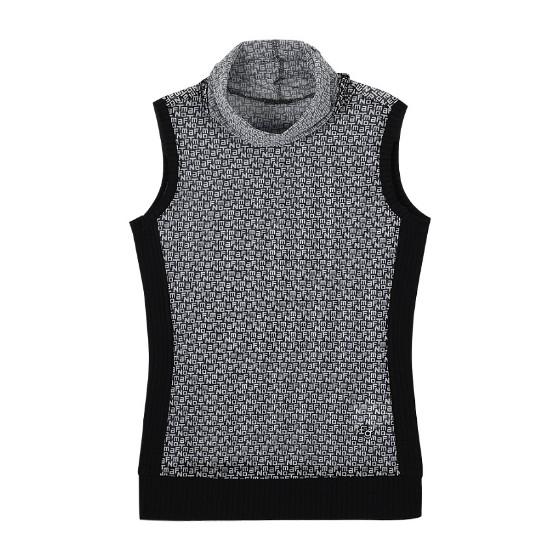 [팬텀] 여성 텍스트 패턴 하이넥 이너티셔츠, 블랙