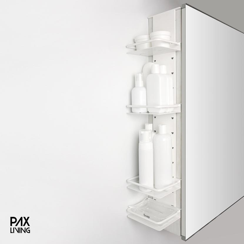 팍스리빙 NEW DUE랙 II 다용도 욕실 코너 틈새 선반 다양한 사이즈, 화이트59cm