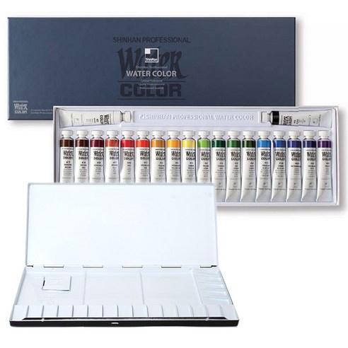 ajumungu 신한화구전문가용 12ml 20색+미광20칸알루미늄 팔레트, 아주문구-신한화구전문가용 수채화물감 12ml 20색+20칸 팔레트1세트