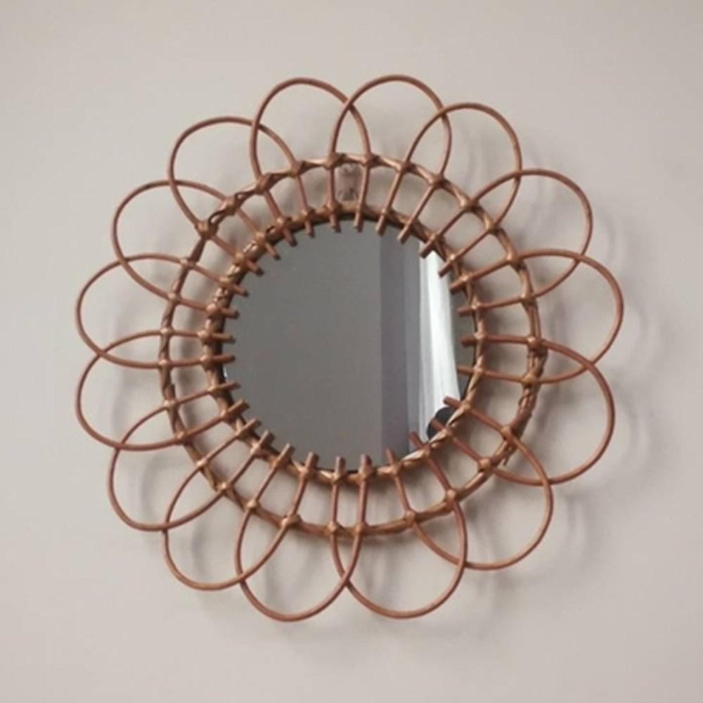 LIJI 라탄 현관 문걸이 거울 타입2, 원목(플라워타입/사이즈48cm)