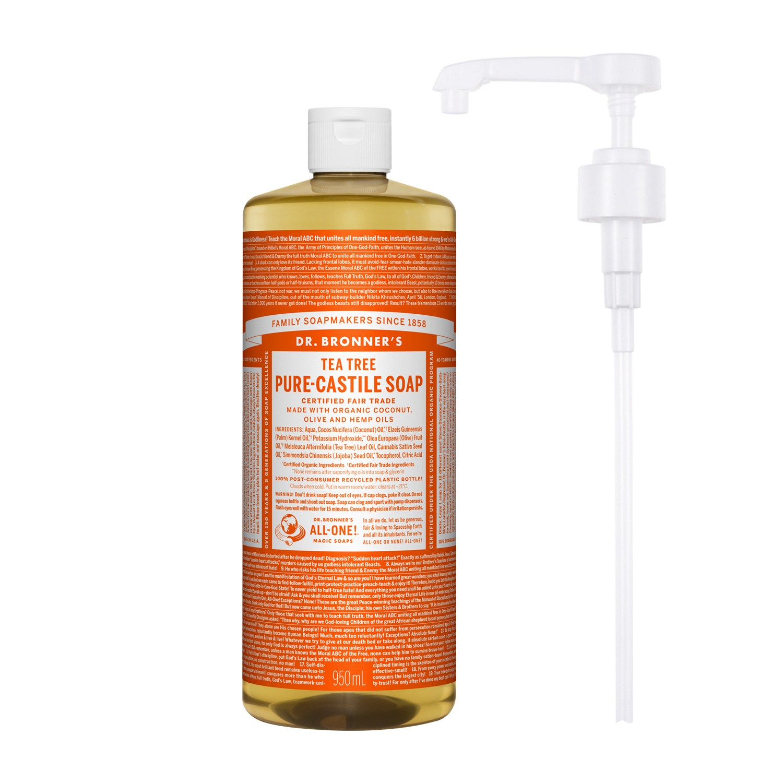 닥터브로너스 퓨어 캐스틸 솝 티트리 950ml + 전용펌프, 단품