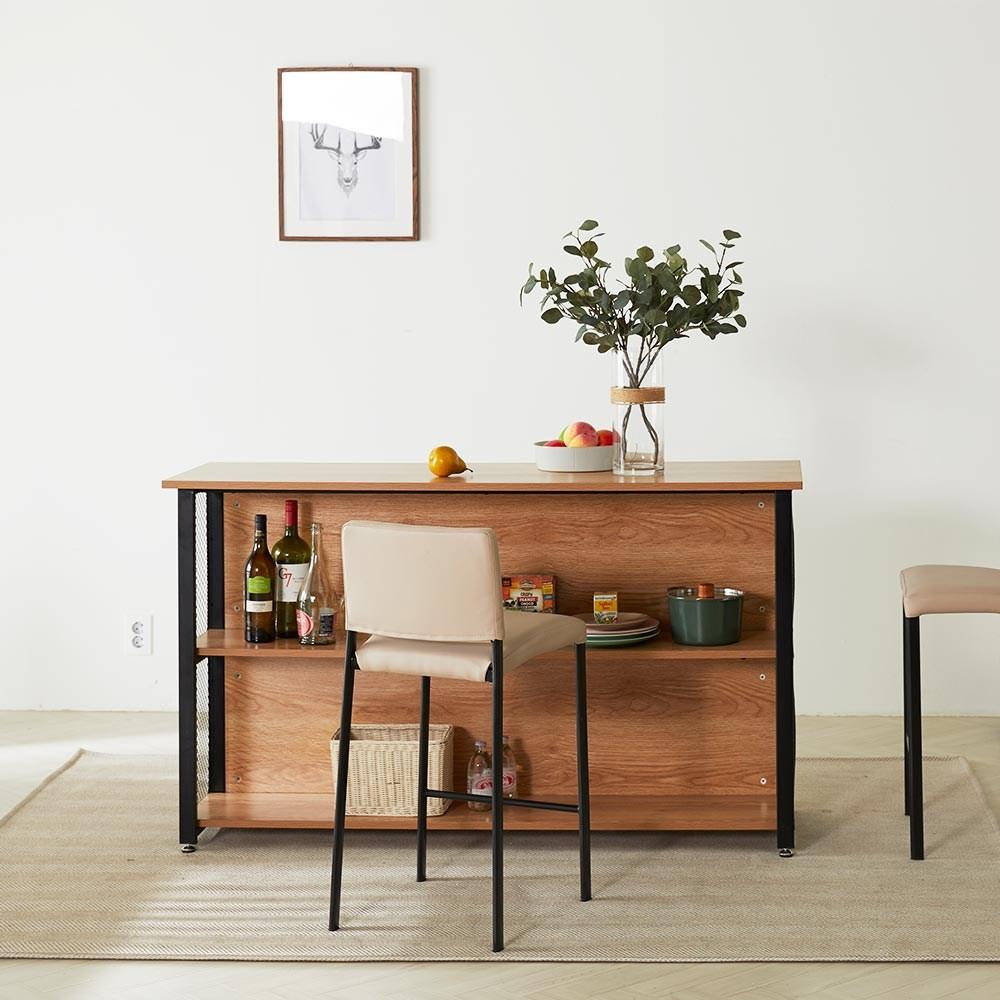 TS홈바 테이블 아일랜드식탁 주방수납장, 신형_1500/라이트월넛