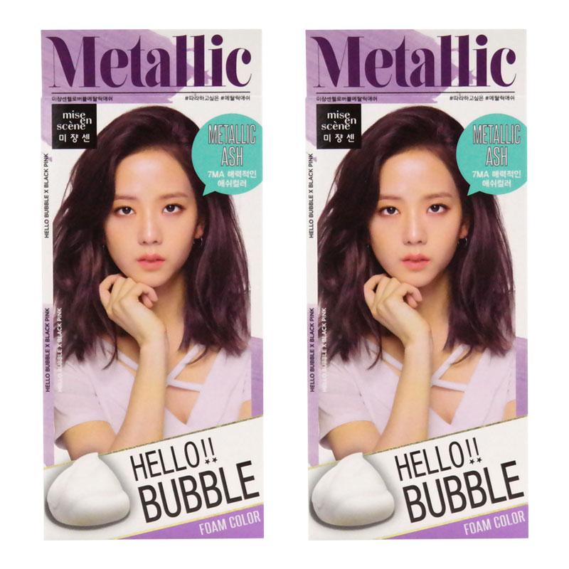 미쟝센 헬로버블 폼 컬러 염색제, 7MA 메탈릭애쉬, 2개