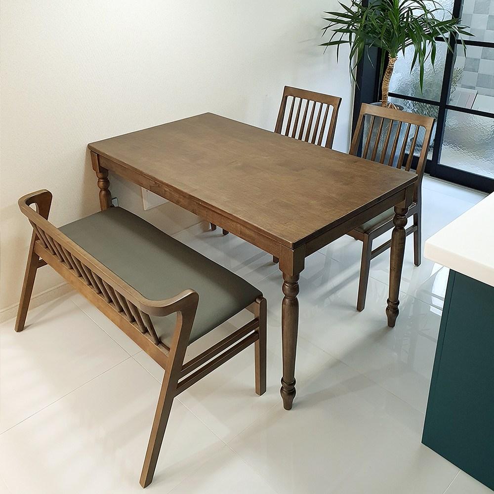 [파스텔우드] 원목 4인용식탁세트 가정용 식탁세트, 4인식탁 세트 (2인벤치 1개 + 의자2개)