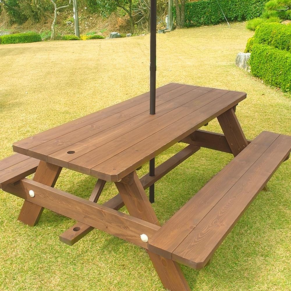 엉클트리 야외 테이블 야외용 탁자 세트 정원 마당 파라솔 별매, 일체형 야외테이블 4인용 무도색