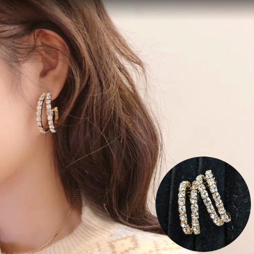 루즈루나 925silver 럭셔리 튜링 원형 큐빅 귀걸이