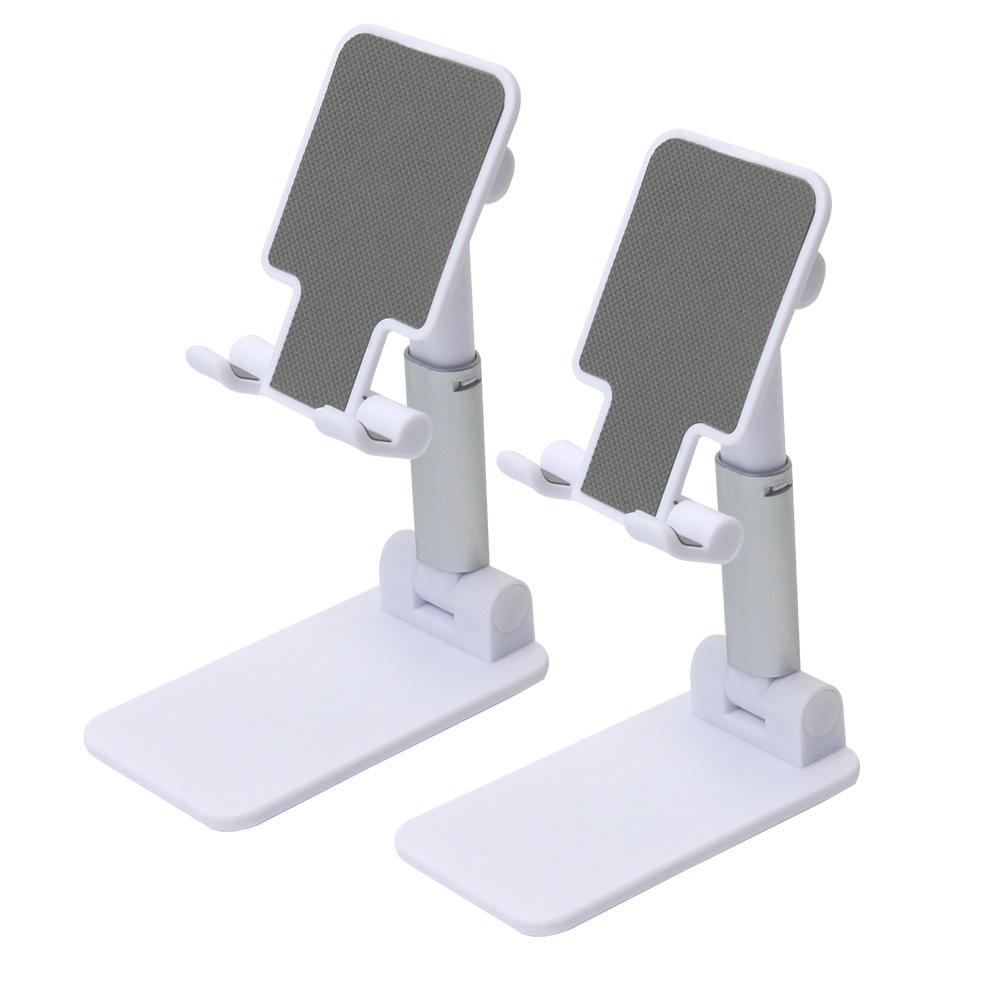 캘리웨이브 2개 탁상 핸드폰거치대 휴대용 접이식 스마트폰 태블릿 거치대 겸용, 화이트