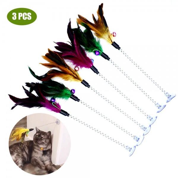 고양이 티저 지팡이 깃털 벨 어리버리 고양이 티저로드 대화 고양이 티즈 장난감 3 개 팩 업데이트 금속 와이어 스프링 고양이 장난감 Worbe
