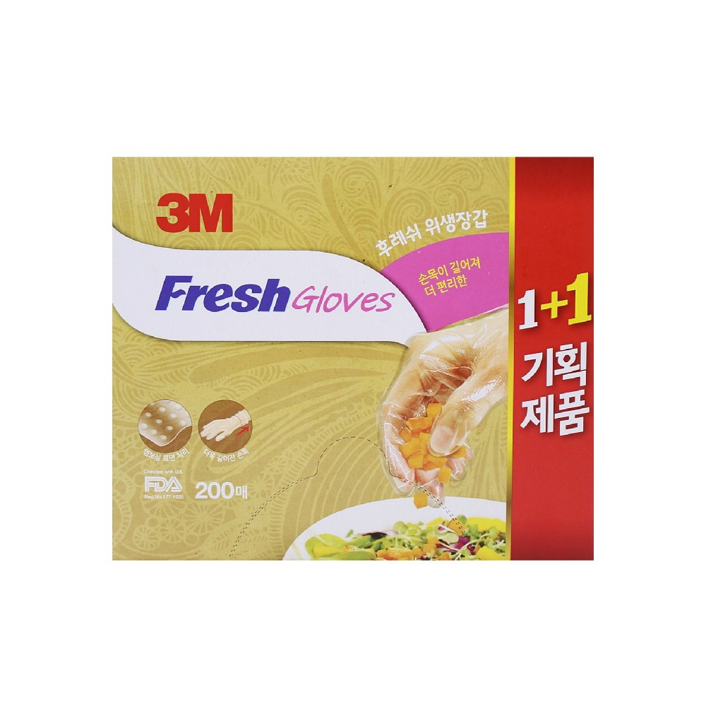 쓰리엠 3M 위생장갑 200매, 단품